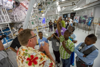 A group of students gets a tour of the National Ignition Facility at Lawrence Livermore National Lab as part of the My Brothers Keeper Initiative. | Photo courtesy of Lawrence Livermore National Lab.