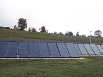 An array of solar collectors | Photo courtesy of Trane