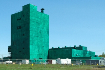 The Metals Plant is shown before workers removed panels from the structure ln 2012.