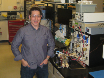 Brian Larsen is developing the next generation of fuel cell catalysts thanks to the Energy Efficiency and Renewable Energy Postdoctoral Research Awards.   Photo courtesy of Dr. Guido Bender, NREL.