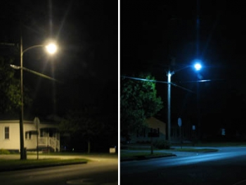 New LED lighting fixtures (right) emit a whiter light than existing high-pressure sodium cobra head streetlights (left) and don't spill light onto nearby houses.   Photos courtesy of the City of Muscatine