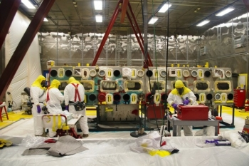 Advanced techniques allowed crews at Los Alamos National Laboratory to decontaminate large boxes of waste so it could be shipped as mixed low-level rather than transuranic waste.