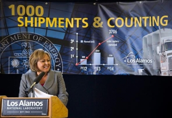 In addition to shattering all of its own shipping records, Los Alamos National Laboratory celebrated its 1,000th shipment to Waste Isolation Pilot Plant with a ceremony that featured New Mexico Governor Susana Martinez.