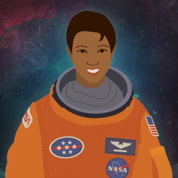 "Astronaut Mae Jemison is our first woman in STEM #ThrowbackThursday for 2016. | Illustration by <a href=""/node/1332956/"">Carly Wilkins, Energy Department</a>."
