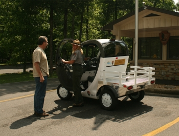 With the help of Kentucky Clean Fuels Coalition, Mammoth Cave National Park was the first National Park fleet to use 100 percent alternative fuel. The Global Electric Motorcar (pictured above) is used by park rangers who need to travel between the Mammoth Cave Campground and the Visitor Center area.   Photo courtesy of Victor Peek Photography.