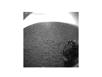 One of the first images taken by NASA's Curiosity rover was taken on the left-rear side of the rover looking directly into the sun. | Photo courtesy of NASA/JPL-Caltech.