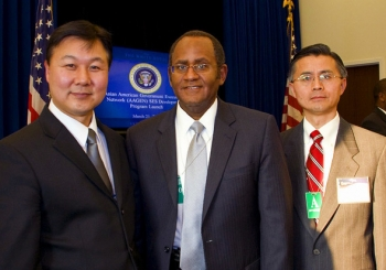 EM's John Moon, left to right, Melvin G. Williams, Jr., former Associate Deputy Secretary of Energy, and EM's Ming Zhu at the AAGEN SES Development Program kickoff in March 2012 at the White House.