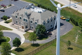 The Port of Milwaukee's wind turbine not only generates power for the Port Administration building, it also serves as a tool to educate the community about wind power. | Photo courtesy of the Port of Milwaukee.