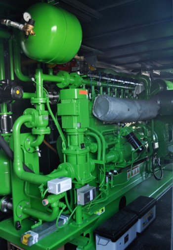 Betin Incorporated's generator converts gas from the plant's anaerobic digester into electricity. | Courtesy of Montchevré.