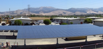 """A portion of the new 141 kilowatt solar photovoltaic energy system at Monterey County's Laurel Yard Complex in Salinas, California. The system is expected to save the county thousands of dollars a year in energy costs. <a href=""""http://energy.gov/sites/prod/files/monterey-california-solar-array-panorama.jpg"""">Click here</a> to see a panoramic view of the entire solar array. 