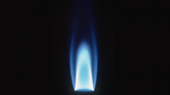 Blue flame generated by natural gas.