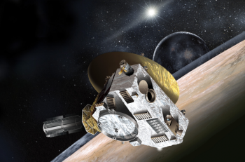 Artist's concept of the New Horizons spacecraft during its planned encounter with Pluto and its moon, Charon. The craft's miniature cameras, radio science experiment, ultraviolet and infrared spectrometers and space plasma experiments are run by the Department of Energy's Radioisotope Thermoelectric Generator (RTG). | Photo courtesy of Johns Hopkins University Applied Physics Laboratory/Southwest Research Institute (JHUAPL/SwRI)