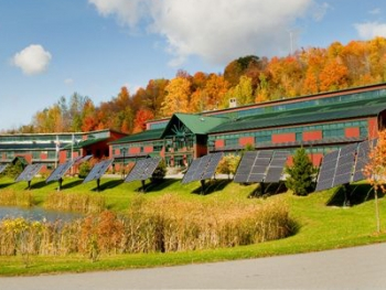 NRG's new building utilizes solar power, but their products measure wind potential.   Photo courtesy NRG Systems