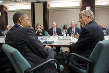 President Barack Obama listens to Acting Energy Secretary Daniel B. Poneman during a meeting with electric utility CEOs and trade association representatives at the Department of Energy in Washington, D.C., May 8, 2013.   Official White House Photo by Pete Souza.