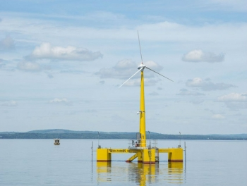 """<strong>May 2013:</strong> The Energy Department recognizes the nation's first grid-connected offshore floating wind turbine prototype off the coast of Castine, Maine. Led by the University of Maine, this project represents the first concrete-composite floating platform wind turbine to be deployed in the world – strengthening American leadership in innovative clean energy technologies that diversify the nation's energy mix with more clean, domestic energy sources.  <a href=""""http://www.energy.gov/articles/maine-project-launches-first-grid-connected-offshore-wind-turbine-us?__utma=1.822254579.1380221839.1387833000.1387894189.83&__utmb=1.7.10.1387894189&__utmc=1&__utmx=-&__utmz=1.1387894189.83.56.utmcsr=google