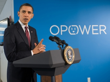 President Barack Obama speaks at OPOWER in Arlington, Va.   Photo courtesy of OPOWER