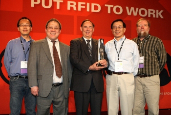"The technology developed by EM's Office of Packaging and Transportation Packaging Certification Program technology development team was selected by the RFID Journal as the ""Most Innovated Use of RFIDs."" Team members pictured here include Dr. John Lee, Dr. Yung Liu, Dr. Jim Shuler, Dr. Hanchung Tsai and John Anderson. Team members not pictured are Brian Craig and Dr. Kun Chen."