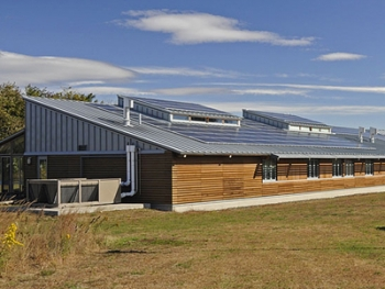 The 112-panel solar photovoltaic system at Parker River National Wildlife Refuge's visitor center and administrative building generates about 35% of the facility's average electricity needs. | Photo courtesy of Parker River National Wildlife Refuge