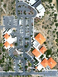 An aerial shot of Oro Valley, Ariz.'s town hall campus shows proposed solar locations.   Photo courtesy of Oro Valley
