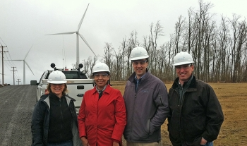 Julia Bovey, First Wind; Tracey LeBeau; Neil Kiely, First Wind; and Bob Springer (NREL) at First Wind's new Rollins project near Lincoln, Maine.
