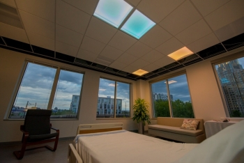 LED patient room lighting system. Photo Courtesy Philips Lighting Research North America
