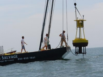 Researchers pull buoys from waters off South Carolina's coast. The buoys collected wind speed measurements for the past year. | Photo courtesy of the Center for Marine and Wetland Studies
