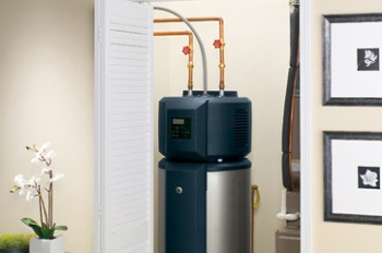 "The GE GeoSpringâ""¢ Electric Heat Pump Water Heater is readily integrated into new and existing home designs. Taking up the same footprint as a traditional 50-gallon tank water heater, the Electric Heat Pump Water Heater uses the existing water heater's plumbing and electrical connections. Credit: GE"