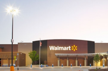 At its Supercenter in Leavenworth, Kansas—the first site to implement the LED Site Lighting Specification—Walmart anticipates energy savings of over 125,000 kWh per year and a 30% reduction in maintenance costs. In addition to parking lot lights, LED bollard lights illuminate the pedestrian walkway. Credit: Walmart