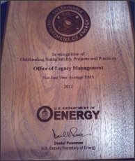 """LM was one of 20 winners selected to receive a DOE 2012 Sustainability Award in September 2012. LM's submission, titled """"Not Just Your Average EMS,"""" was entered under the category of Environmental Management Systems."""