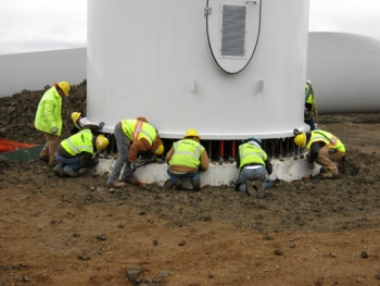 Construction teams set up a turbine foundation in Minot, N.D. | Photo courtesy of Basin Electric Power Cooperative