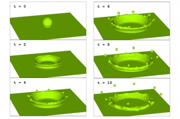 This simulation of a droplet of liquid falling into a pool of liquid was modeled using Los Alamos National Laboratory's Computational Fluid Dynamics Library (CFDLib), which was also used by Procter and Gamble to simulate a manufacturing process. The computer code is now available to help American industries become more competitive. | Courtesy of Los Alamos National Laboratory