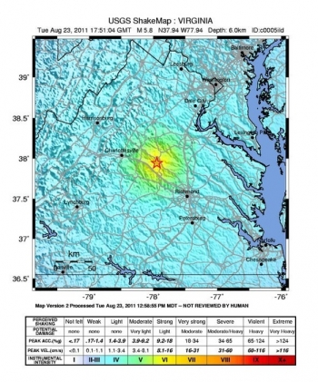 A map of the August 23, 2011, Mineral, Virginia, earthquake that shook the east coast of the United States. | Image courtesy of the U.S. Geological Service