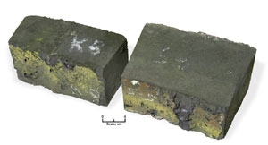 Refractories removed from adjacent positions in a slagging gasifier. The NETL refractory (right) has approximately 50 percent more material remaining after the test.