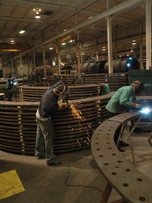 Bassett employees work on embedment (anchor) rings for the wind turbine foundations. Bassett just received a 48C tax credit to invest in capital equipment for wind turbine tower manufacturing.| Photo courtesy Bassett Mechanical