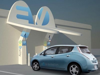 An artist's rendering of a Nissan LEAF charging outside a café. | Courtesy The EV Project
