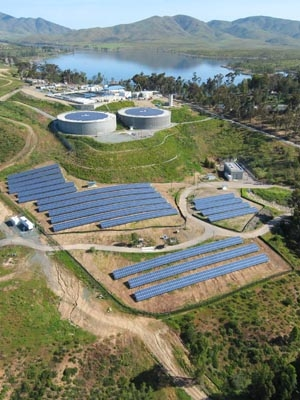 San Diego's Otay Water Treatment Plant is generating clean electricity along with clean water, with a total capacity of 945 KW | Photo courtesy of SunEdison