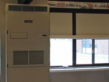 Each classroom has a geothermal unit installed. Although large, the units blend into surroundings and don't produce excess noise.   Photo Courtesy of Sterling Public Schools