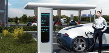 A rendering of a 350kW XFC charging station by Electrek.
