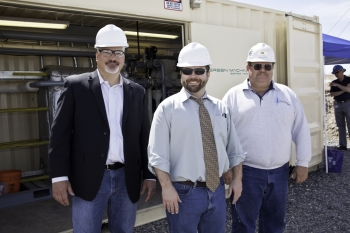 John Fox, CEO of Electratherm, with Tim Reinhardt, Low-Temperature and Coproduced Technology Manager for the Department of Energy, join Joel Murphy, general manager of the Florida Canyon Mine for Jipangu International. The mine's byproduct of geothermal brine allows for an additional revenue stream from existing infrastructure.
