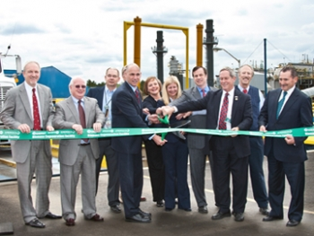 Pictured from left are Senior Advisor for Environmental Management David Huizenga; DOE Savannah River Operations Office Manager Dave Moody; SRNS Infrastructure Maintenance and Engineering Manager John Stafford; DOE Federal Projects Director Jim DeMass; Under Secretary for Nuclear Security Thomas D'Agostino; DOE-Savannah River Assistant Manager Karen Guevara; Ameresco Federal Programs Director Nicole Bulgarino; Ameresco Executive Vice President Keith Derrington; U.S. Rep. Joe Wilson (R-SC); Ameresco Program Manager Ken Chacey; and Ameresco President and CEO George Sakellaris.