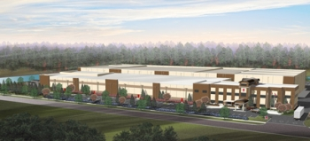 A rendering of Saft's lithium-ion battery factory under construction in Jacksonville, Fla. | Courtesy of Saft