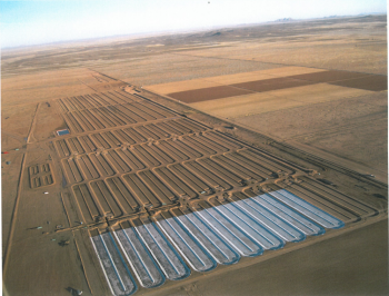 An aerial view of Sapphire Energy's integrated biorefinery in Luna County, New Mexico.   Photo courtesy of Sapphire Energy.