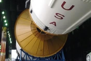 Under the Saturn IV Rocket <em>Photo credit: Kelly Visconti</em>