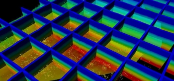 The National Geothermal Data System deploys free, open-source online scientific information, a mammoth resource of geoscience data. In the data visualization shown here, Schlumberger utilized bottom hole temperatures from the National Geothermal Data Systems (NDGS) on-line platform to supplement subscription data temperatures used to create basin-wide 3D temperature models in Petrel Exploration and Production software | photo courtesy of Schlumberger