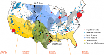 Conceptual representation of the three major seams in the United States. Current seams limit the value of diverse natural resources across various regions.