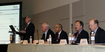Pictured at the session on barriers in small business contracting, left to right, are Jim Fiore of Fiore Consulting; John Coffman of DeNuke Contracting Services, Inc.; John Hale III of the DOE Office of Small and Disadvantaged Business Utilization; Jack Surash of EM; and Matt Moeller of Dade Moeller.