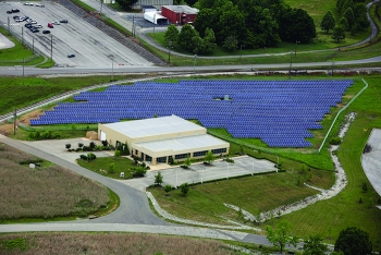 An aerial view of Oak Ridge's third solar array development, built by a team honored with a DOE Sustainability Award.