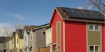 Installing a renewable energy system for you home, like these solar panels, doesn't mean breaking the bank.   Photo courtesy of Dennis Schroeder, National Renewable Energy Labratory