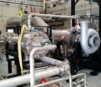 The DOE SunShot loop is designed to demonstrate highly efficient turbine expander and recuperator performance for advanced supercritical carbon dioxide concentrating solar power cycles. Photo courtesy of Southwest Research Institute.