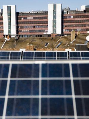 Baltimore resident Paul Bennett installed 14 solar panels such as these on his historic row home with the help of a state solar grant and federal tax credit through the Recovery Act. | Energy Department Photo |